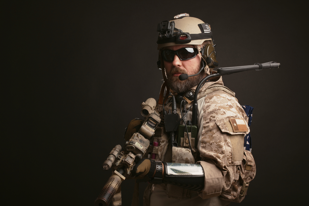 Army soldier with a beard