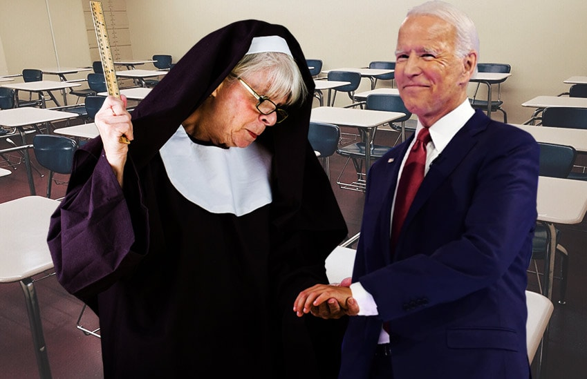 Joe Biden wrist slapped by nun with ruler