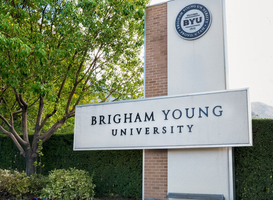Brigham Young University sign on campus