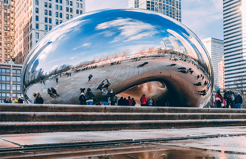 The Cloud Gate in Chicago, Illinois