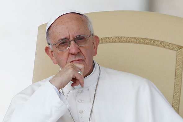 Pope Francis looking concerned