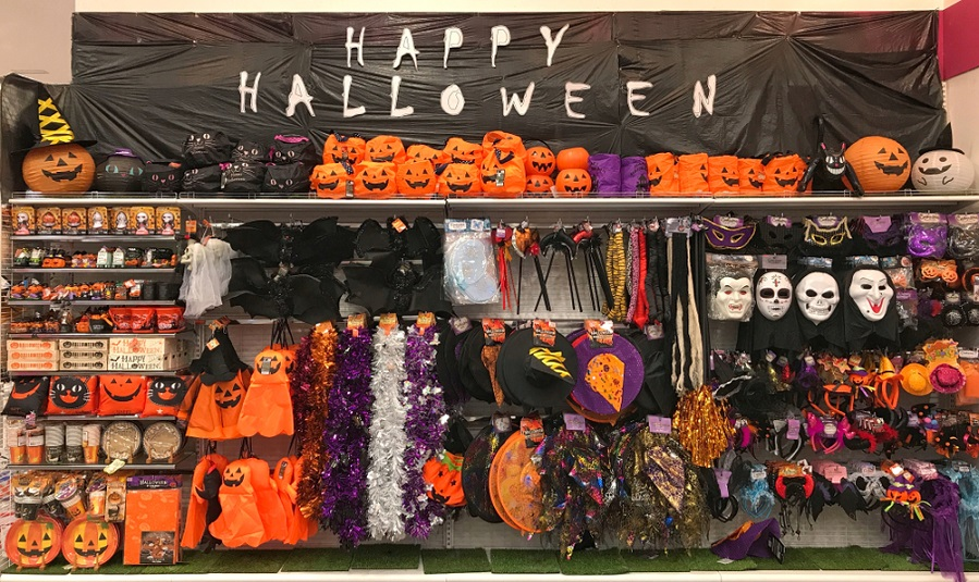 A Halloween store selling decorations and costumes