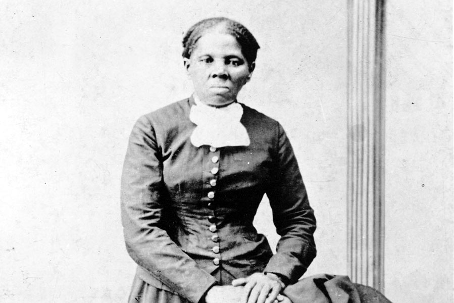 A black and white photo of Harriet Tubman