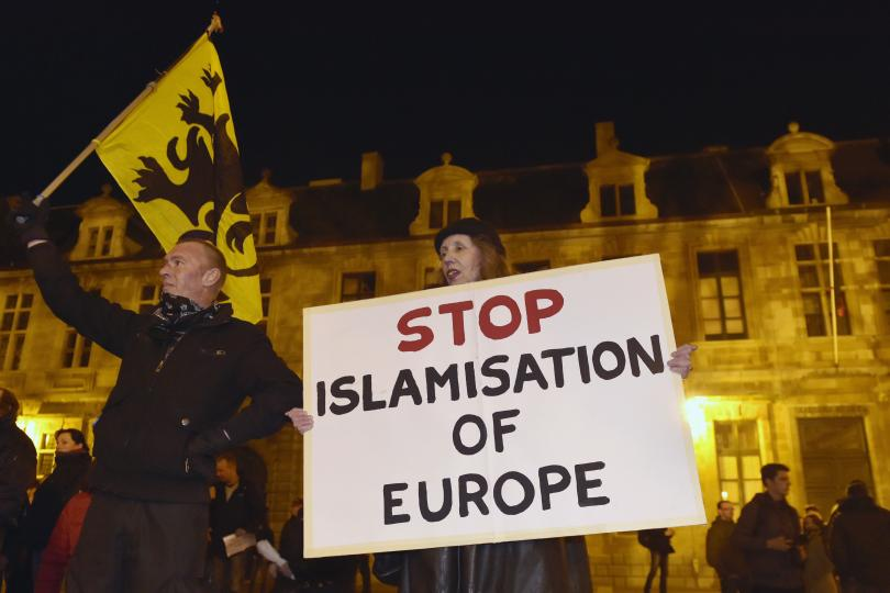 Women protesting for the protection of European culture