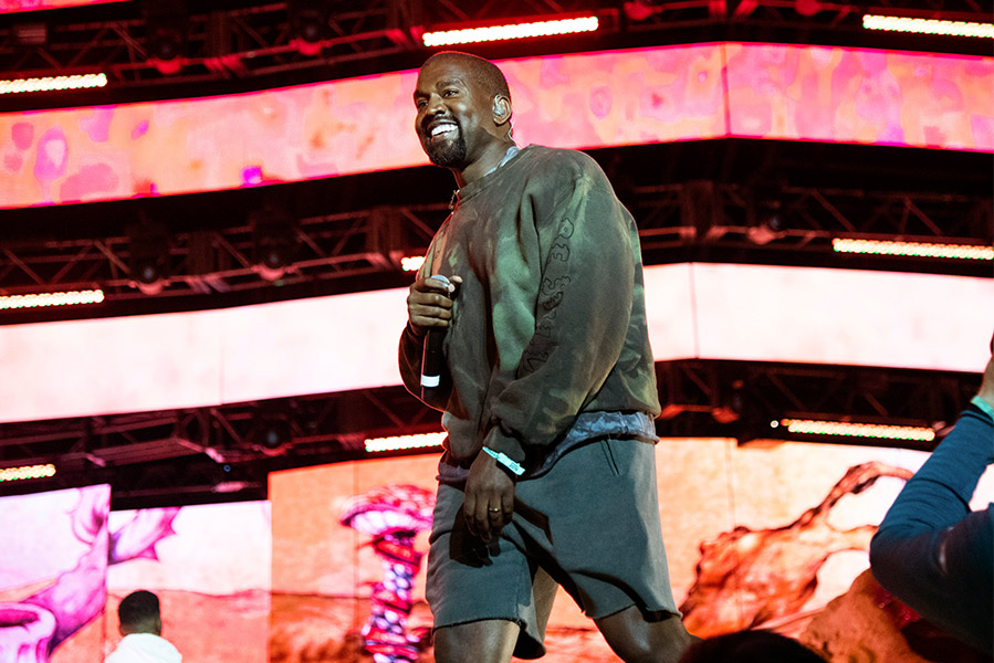 Kanye West performing at Coachella
