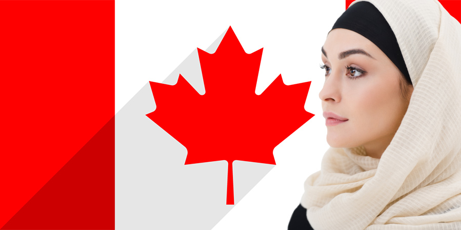 A Muslim Woman in hijab in front of Canadian flag
