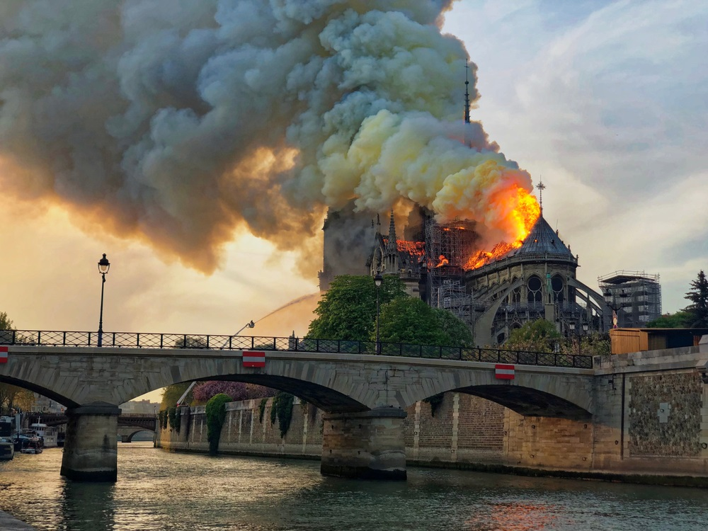 Notre Dame Cathedral burning