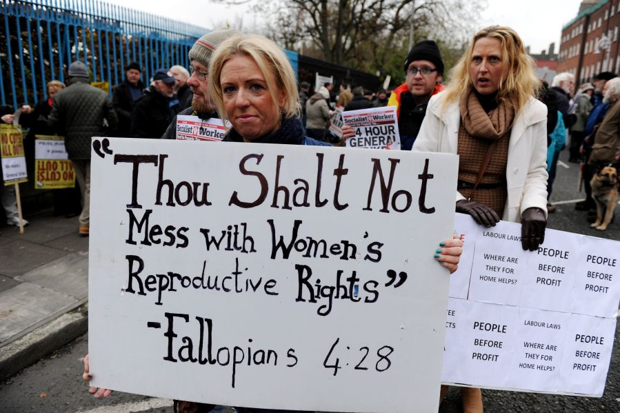 Women protesting pro-life policies