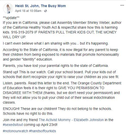 Angry California parent opposed to sex ed