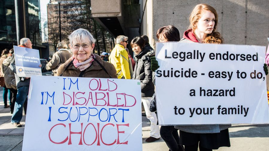 Pro-assisted suicide supporters and anti-assisted suicide supporters face off.