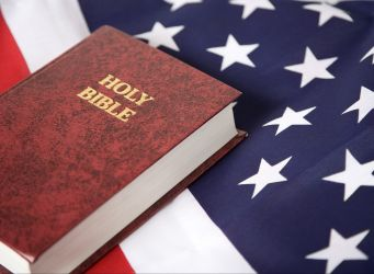 A Bible with an American flag