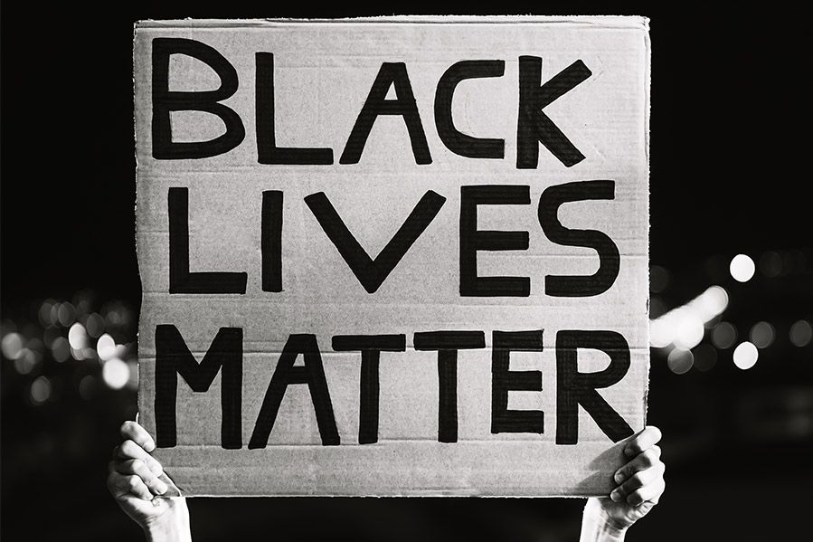A Black Lives Matter protest in black and white