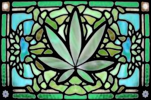 cannabis stained glass window