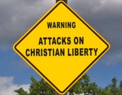Sign warning about the war on Christianity