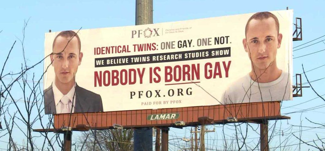 A billboard advertising for conversion therapy