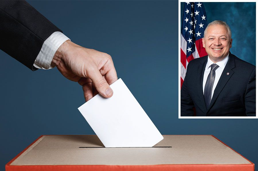 Depiction of voting with image of Denver Riggleman inset