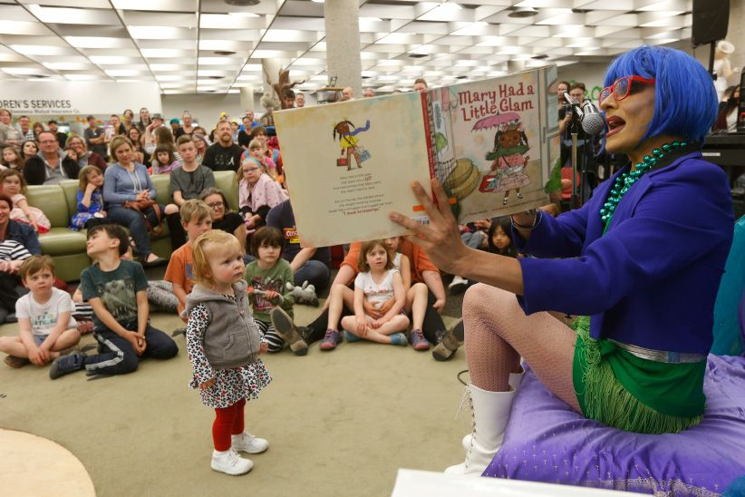 Drag queen reading to children
