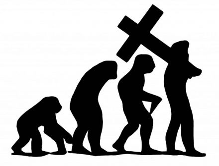 Evolution graphic with Christian cross