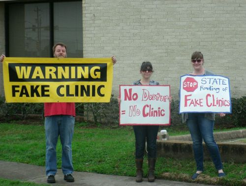 A protest outside a fake abortion clinic
