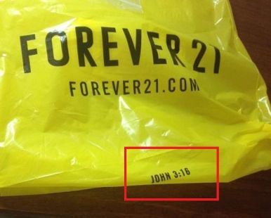 Religious message on shopping bag from Forever 21