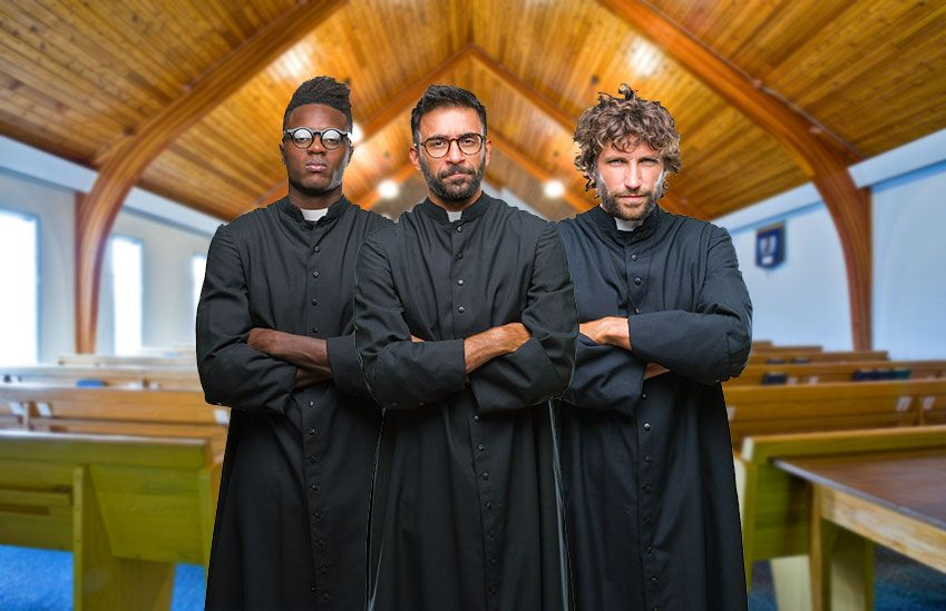 Group of judgmental clergy