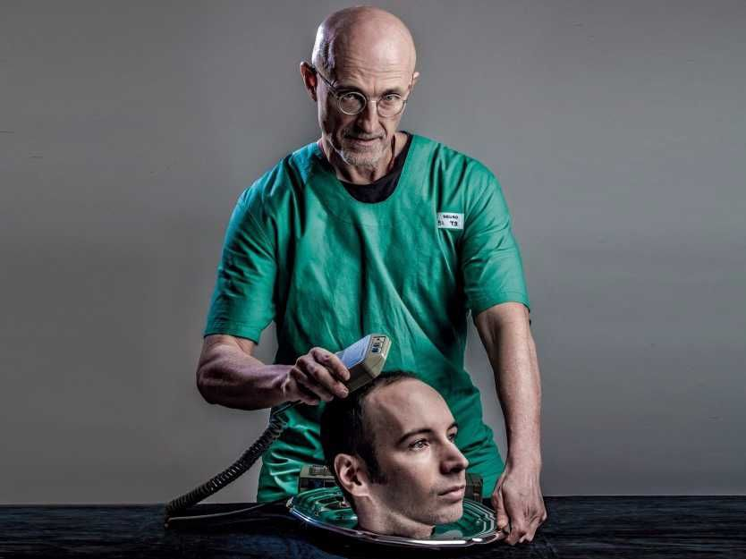 A doctor getting ready to perform a head transplant