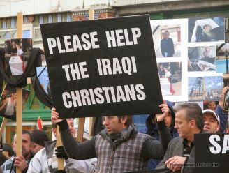 A man bringing attention to persecution of Christians in Iraq.