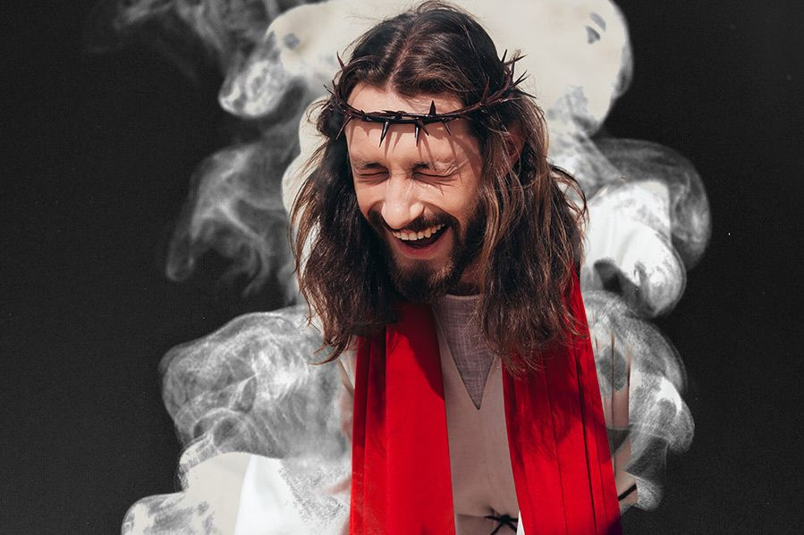 Jesus laughing while high