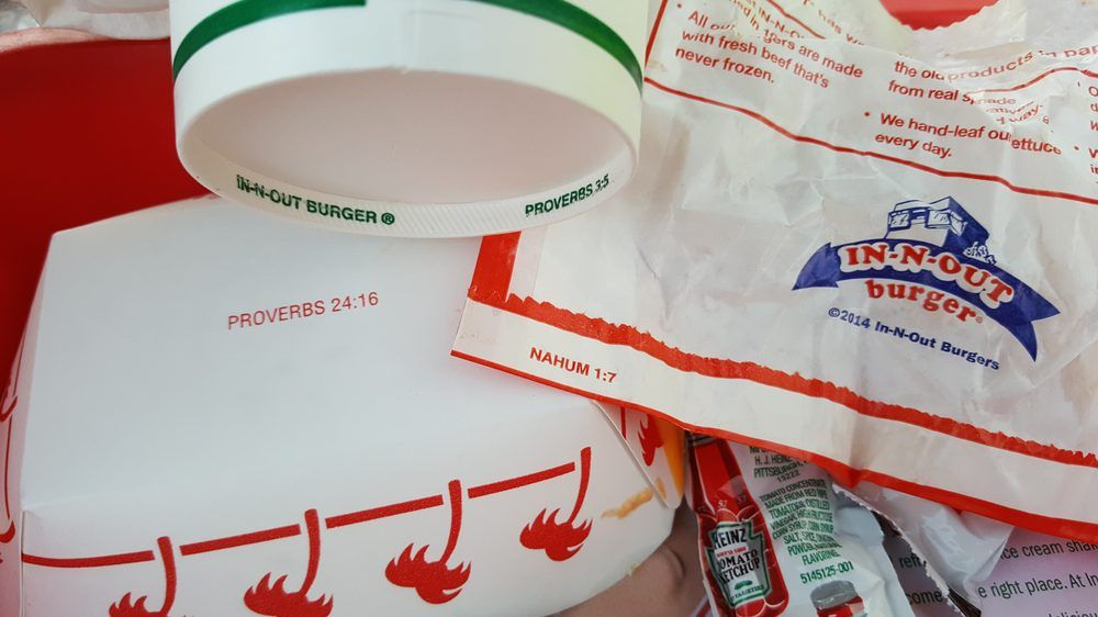 Bible verses on burger wrapper