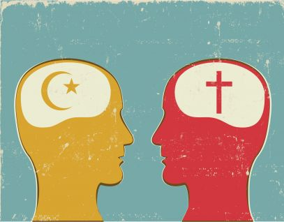 Brains with Christian and Islamic symbols