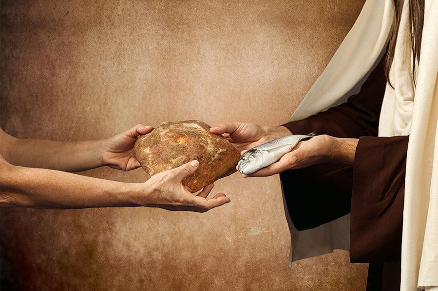 Jesus giving the gift of bread and fish