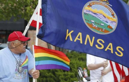 A pro-LGBT protest in Kansas