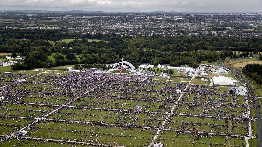 Pope Francis speaks to a smaller than expected crowd in Dublin