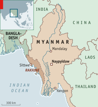 A map of Myanmar