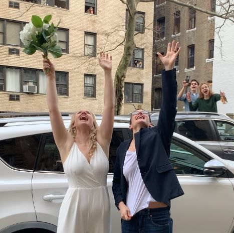 Couple celebrates social distancing wedding in NYC