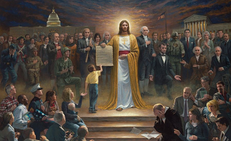 A painting depicting the United States as a Christian country.