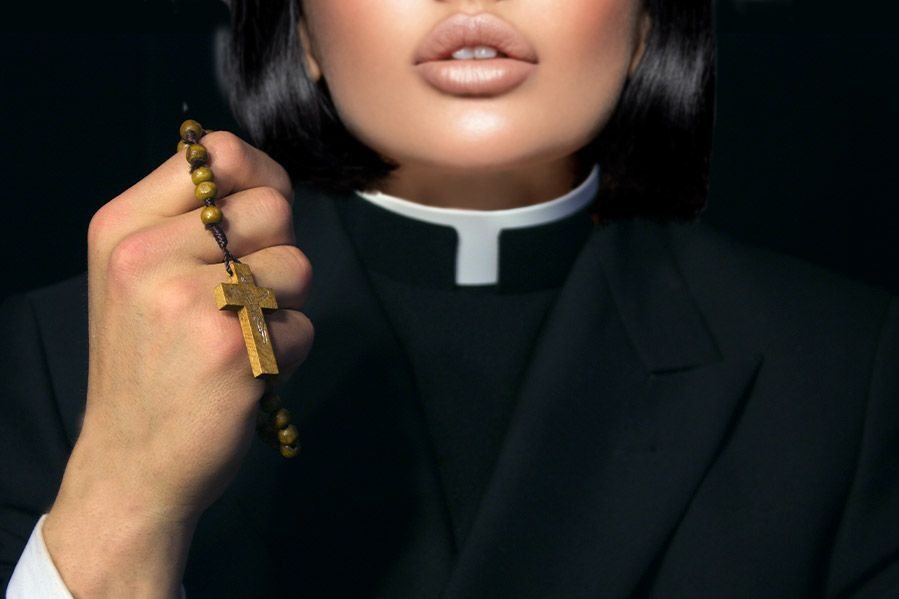 Sexy woman dressed as a pastor