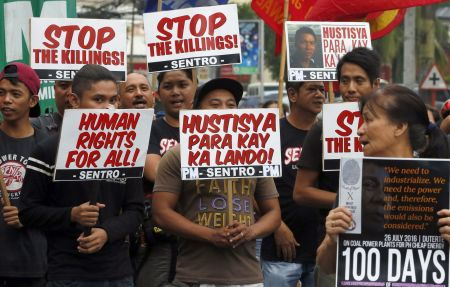 Catholics protesting in the Philippines