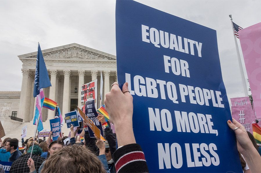 pro-lgbt protest outside supreme court