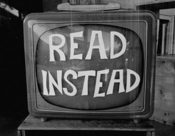 A message encouraging kids to read instead of watching TV.