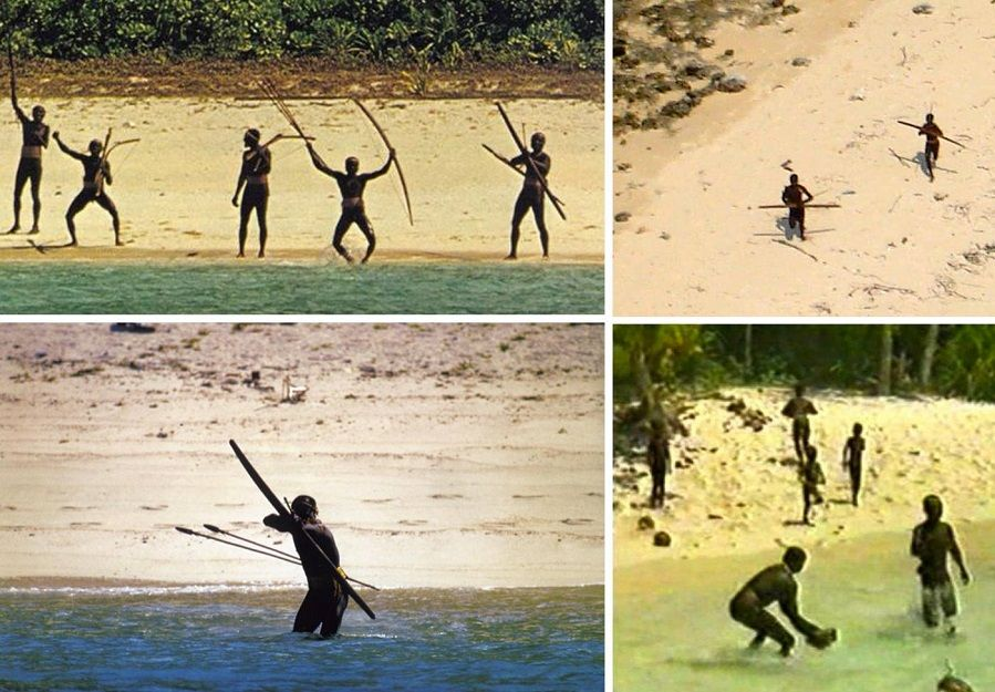 Sentinelese people with bows and arrows