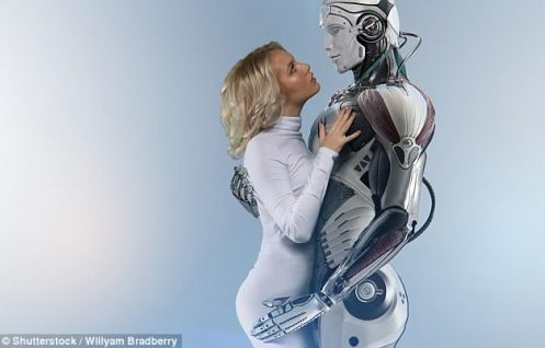 Woman with a male robot