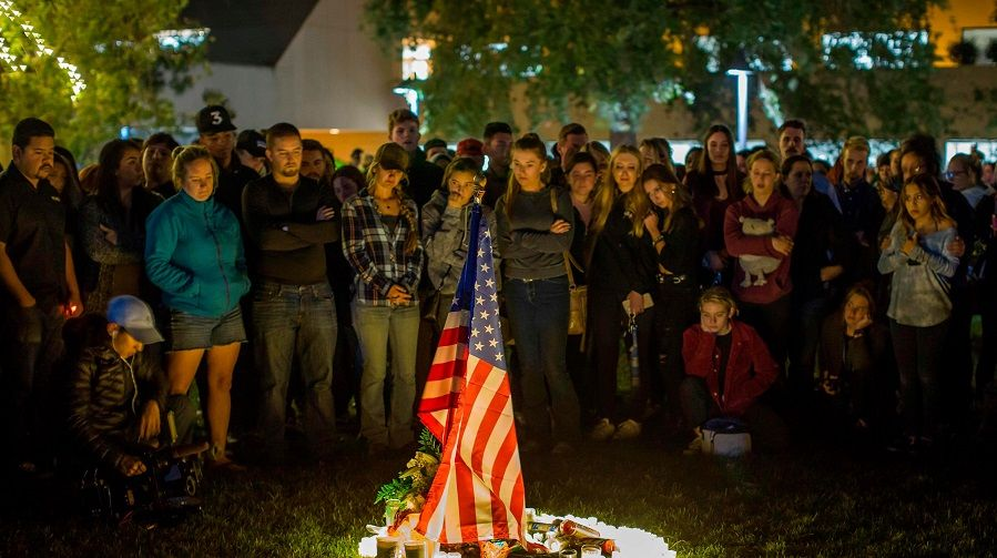 People gather for Thousand Oaks vigil