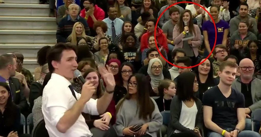 Justin Trudeau corrects audience member