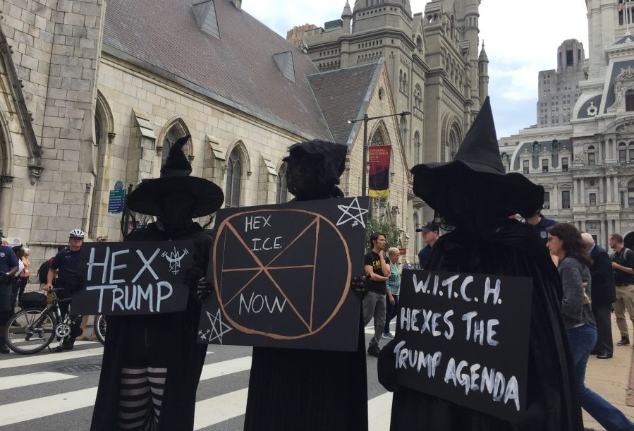 Witches protesting Trump