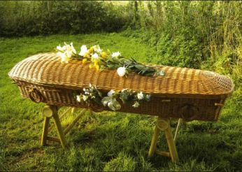 Wicker coffin for a green funeral