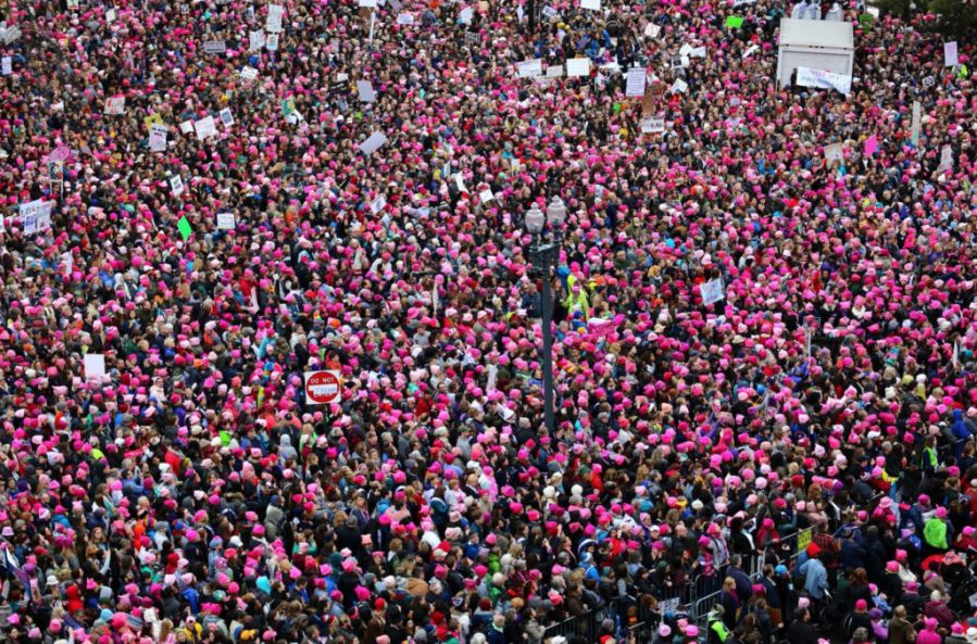 Women march in protest in Washington D.C.
