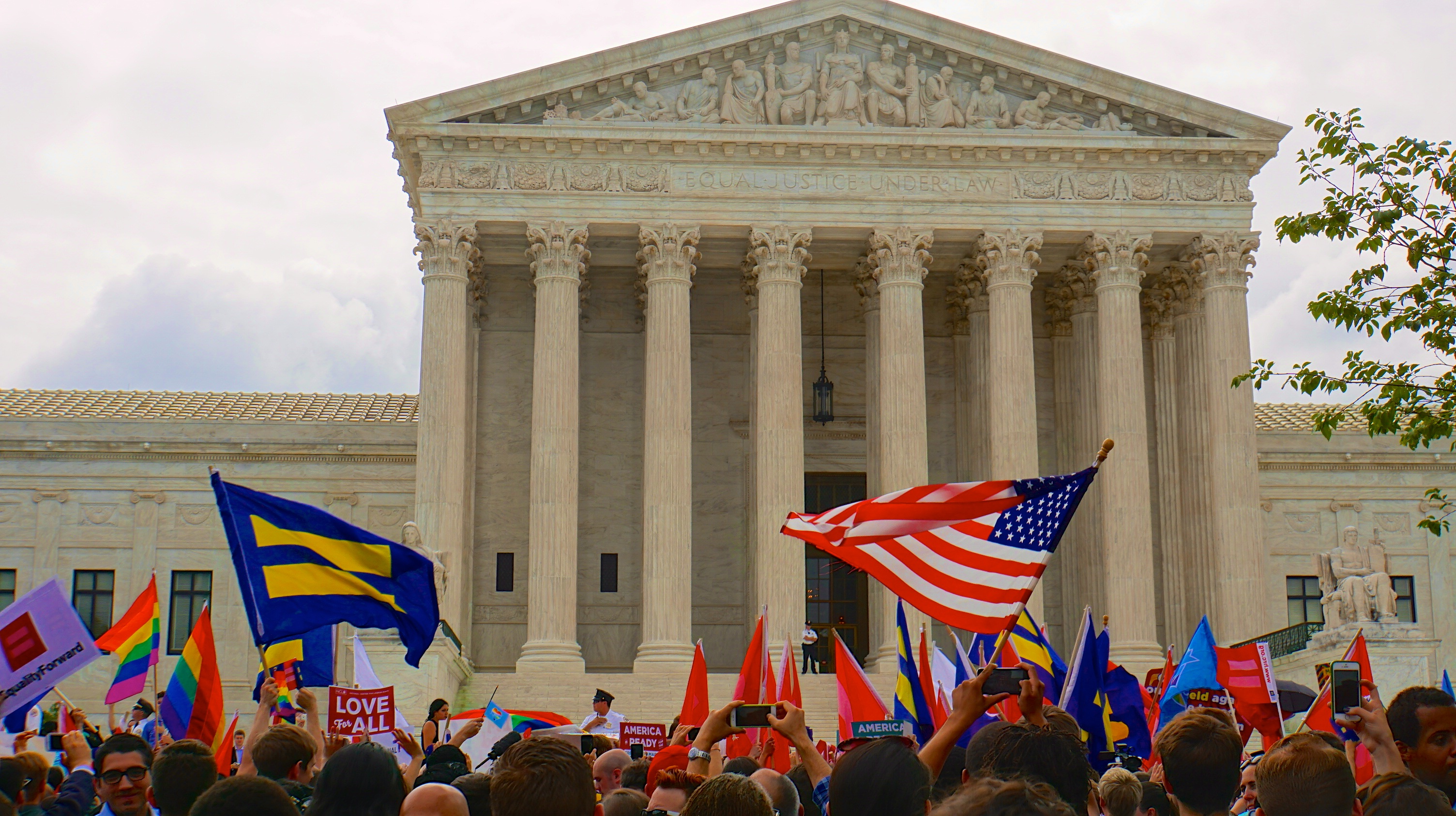 Supporters of marriage equality gathered in front of the Supreme Court last year