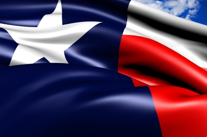 close up of Texas flag billowing in the wind
