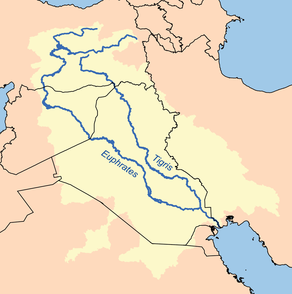 Map of Middle East showing potential location for the Garden of Eden.